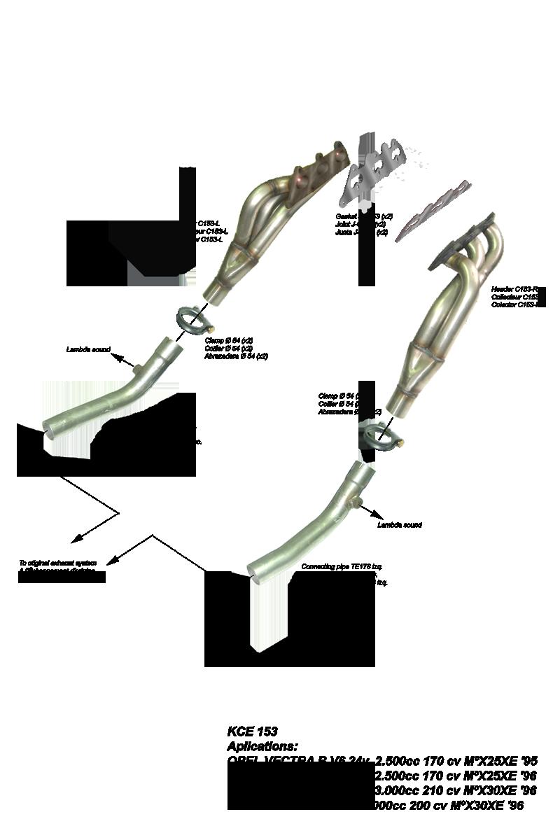 Kit Colectores de Escape para OPEL OMEGA B 3.0 V6 24V 210CV 96-