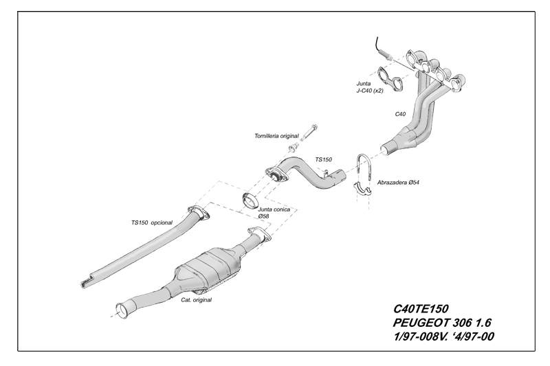 Kit Colectores de Escape para CITROËN XSARA 1.6i 8V 98-2000