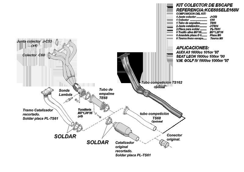 Kit Colectores de Escape para AUDI A3 1.6I 8V 100CV 10/97-06/99