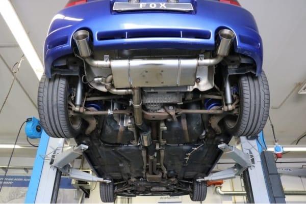Escape deportivo final VW Volkswagen Golf Mk4 IV R32 3.2 241CV con valvula de escape colas 100mm tipo 24 Fox