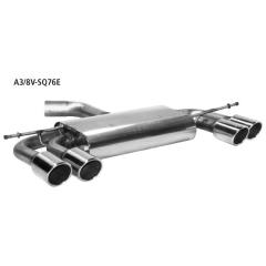 Escape deportivo final con doble tubo de escape LH + RH 2x76 mm con labio cortado 20 limusina Audi A3 8V 1.2l TSI (modelos con eje de torsion) Bastuck