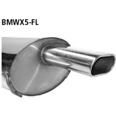 Escape deportivo final simple flat 135x75 mm lado izq. BMW X5 E53 6 cilindros gasolina Bastuck