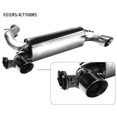 Escape deportivo final con tubo de escape individual 1x100 mm LH + RH cortado 30 con valvula de escape Ford Focus 3 RS Bastuck