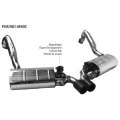 Sistema de escape deportivo con tubos de eje y aislamiento integral y valvula de escape con 2x90mm tubo de escape en carbono salida central Porsche Cayman Bastuck