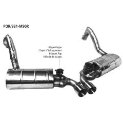 Sistema de escape deportivo con tubos de eje y aislamiento integral y valvula de escape con 2x90mm tubo de escape race, salida central Porsche Cayman Bastuck