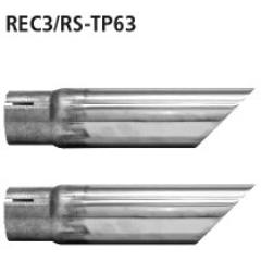 Kit de tubos con 2x tubo simple de salida 63 mm cortado 45? Renault Clio 3 RS incluido Facelift Bastuck