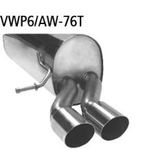 Escape deportivo final con dos salidas de tubos 2x76 mm cortar 20 Volkswagen Polo 6 AW inclusive GTI Bastuck