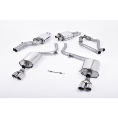 Escape deportivo Cat-back Milltek Audi S4 3.0 Supercharged V6 B8 2009-2012 Twin 80mm GT80 Colas pulidas Homologacion CE
