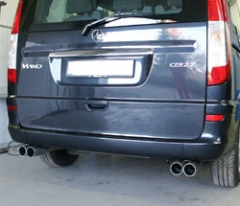 Escape final Mercedes Viano/ Vito 639 without chassis air W639 final silencer cross exit doble duplex derecho / izquierdo 2x76 Tipo 11 doble duplex derecho / izquierdo Fox