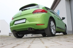 Escape final VW Scirocco 1,4l TSI + 2,0l TDI 100/103kW 70mm system 2x76 Tipo 25 doble duplex derecho / izquierdo Fox